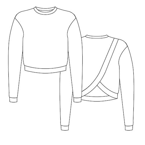 Croquis du patron de couture du sweat Douillette - Modèle pour débutant